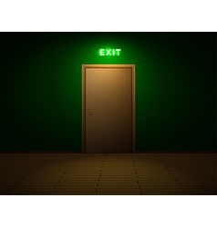 Room with exit sign vector image vector image