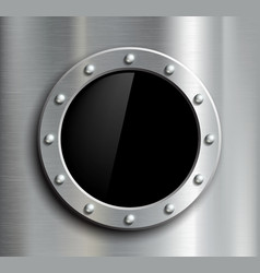 Round window in a metal fuselage vector