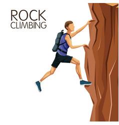 Scene man climbing on a rock mountain vector