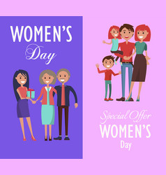 Set posters dedicated to women s day celebration vector
