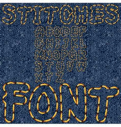 stitches font denim vector image