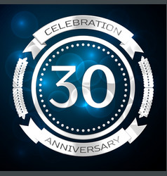 thirty years anniversary celebration with silver vector image vector image