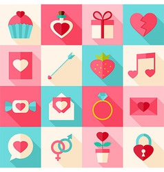 Valentine day flat icon set with long shadow vector