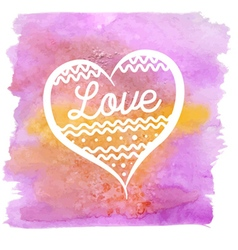 Watercolor stains pink with heart vector
