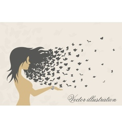 Womens hairstyles and hair with butterflies vector