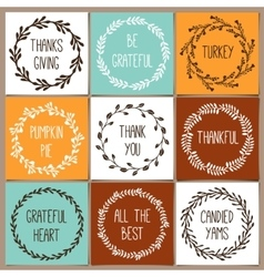 Thanksgiving day vintage gift tags and cards with vector