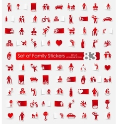 Set of family stickers vector