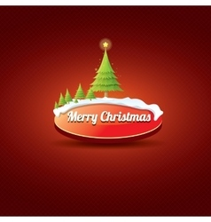 Christmas red button with christmas tree vector