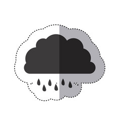 gray silhouette sticker of cloud with drizzle vector image