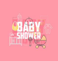 Baby shower icons vector