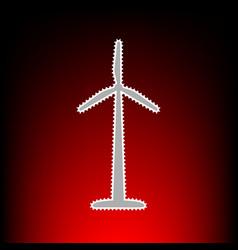 Wind turbine logo or sign postage stamp or old vector