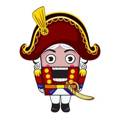 Nutcracker toy in red suit isolated vector
