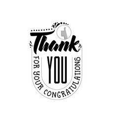 Thank you for your congratulations banner badge vector