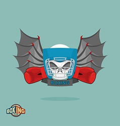 Boxing emblem skull in a boxing helmet with gloves vector