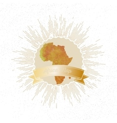 Africa map with vintage style star burst yellow vector