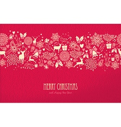 Merry christmas happy new year card pattern deer vector