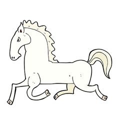 Comic cartoon running white stallion vector