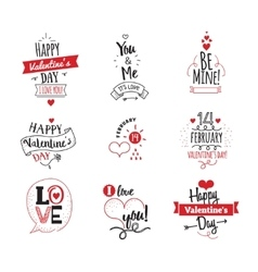 Valentines day typographic design set on white vector