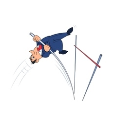 Businessman doing the pole vault vector