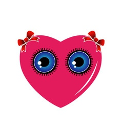 A heart with blue eyes and red bow vector