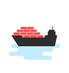 Black ship icon with cargo vector