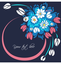 Bouquet of flowers on the dark blue background vector