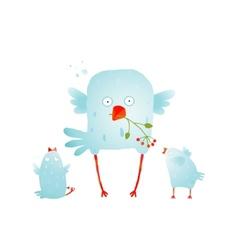 Cartoon fun and cute mother bird with her babies vector