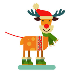christmas cute reindeer santa claus character vector image vector image