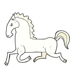 Comic cartoon running white stallion vector