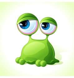 Cute green monster isolated on white background vector