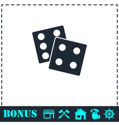 Dices icon flat vector