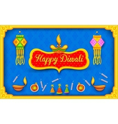 Diwali background with colorful firecracker vector
