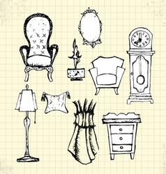 doodle furniture on paper vector image