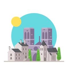 Flat design of Notre Dame France with village vector image vector image