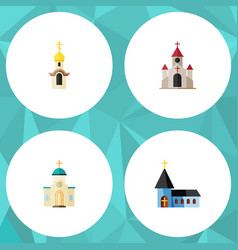 Flat icon building set of traditional christian vector