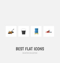 Flat icon garden set of lawn mower container vector