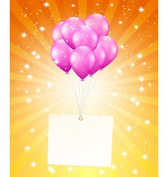 flying balloons with card vector image vector image