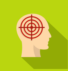 Human head with red crosshair icon flat style vector