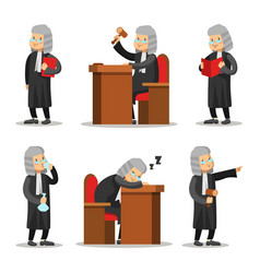 Judge cartoon character set law and justice vector