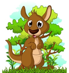 kangaroo cartoon with forest background vector image vector image
