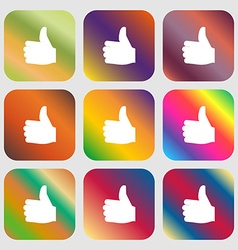 Like thumb up icon nine buttons with bright vector