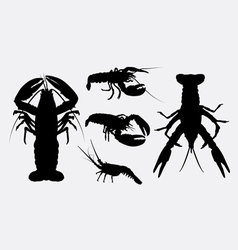 Lobster silhouettes vector image vector image