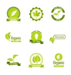 Natural eco and organic products logos vector image vector image