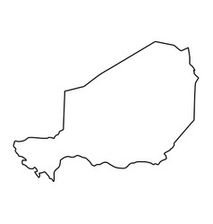 Niger map of black contour curves on white vector