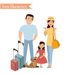 People and family traveling on vacation vector