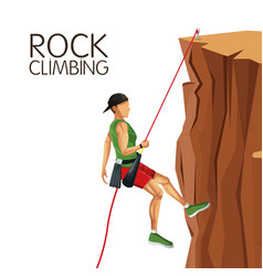 Scene man mountain descent rock climbing vector