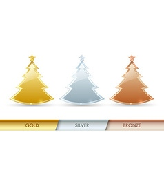 Simple golden silver and bronze Christmas trees vector image vector image