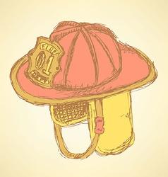 Sketch fire helmet in vintage style vector