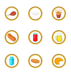 tasty food icons set cartoon style vector image vector image