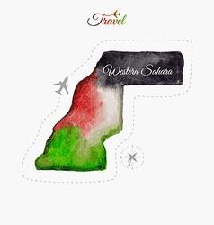 Travel around the world western sahara watercolor vector